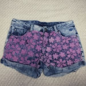 Justice Jean Shorts W/ Pink Lace Overlay